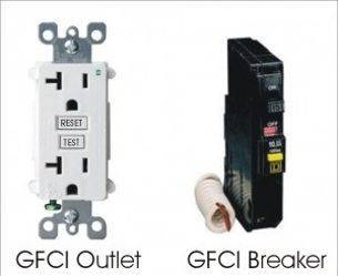 examples of GFCI outlet and GFCI breaker Voltz Electrical Service Augusta GA